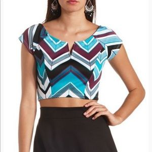 Charlotte Russe Teal Chevron Plunge Neck Top